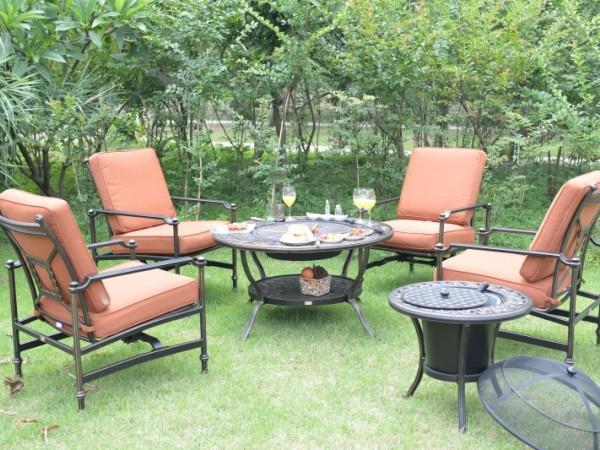 馨宁居户外铸铝烧烤桌别墅庭院花园休闲铁艺桌椅红酒饮料冰桶组合