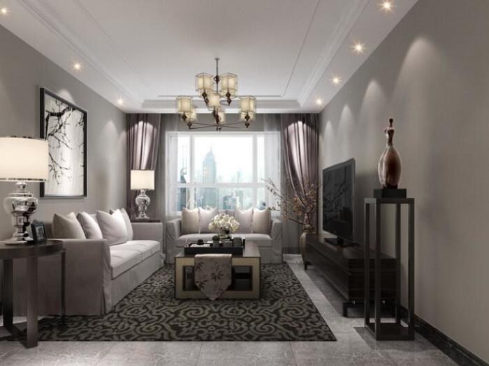 现代简约-83平米一居室-装修样板间