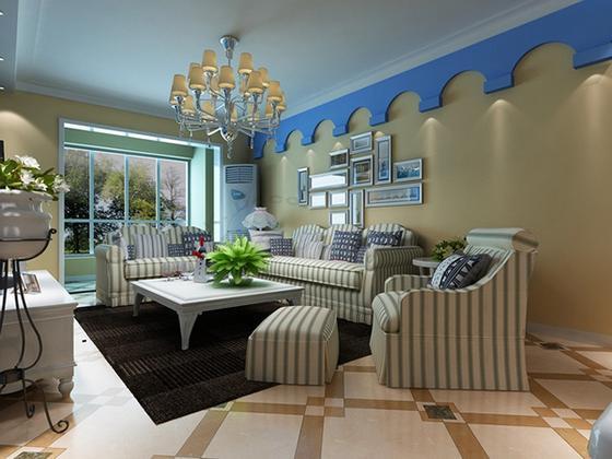 地中海风格-95平米三居室-装修样板间
