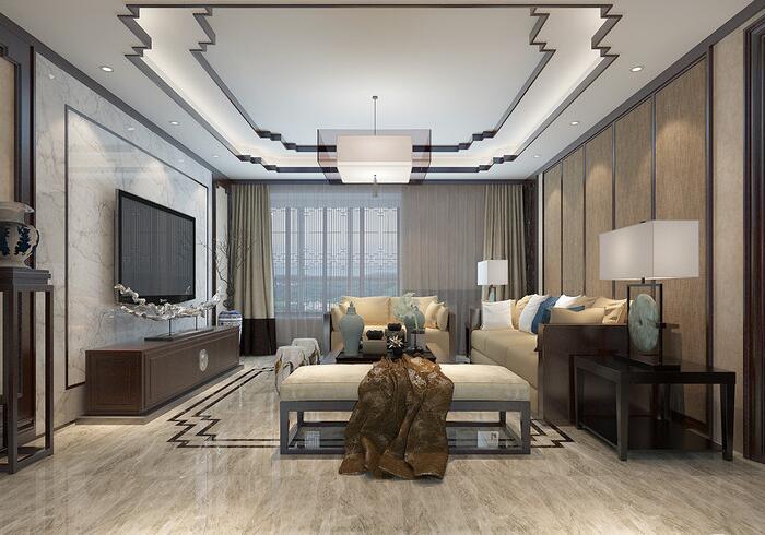 中式风格-155平米三居室整装-装修样板间