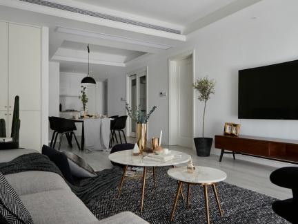 北欧风黑白系客厅装修效果图