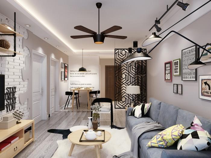 现代简约-78平米二居室整装-装修样板间
