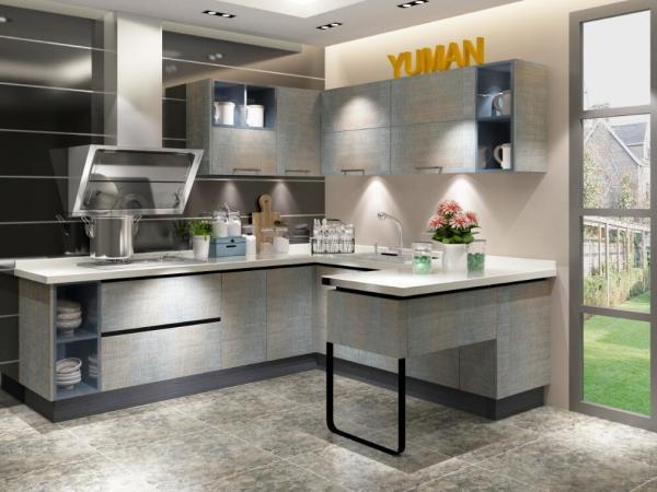宇曼整体橱柜定做厨房厨柜现代简约双饰面门板石英石台