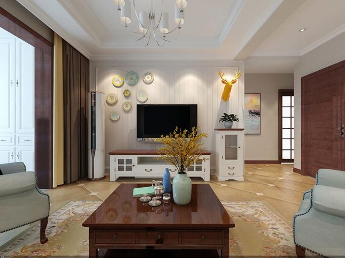 美式风-90平米三居室-装修样板间