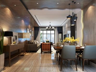 东南亚风格-109平米三居室装修样板间