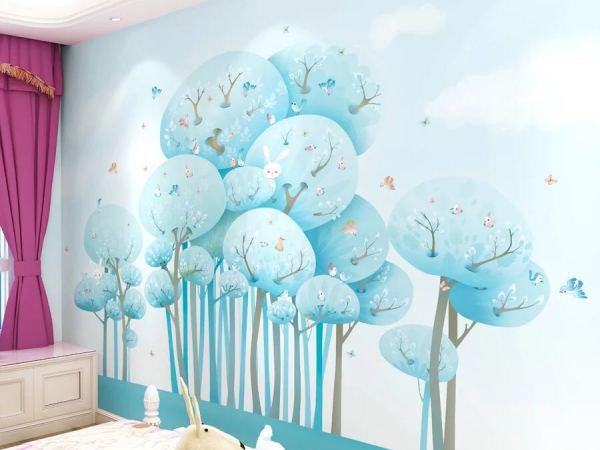 天洋 壁画无缝全屋定制房卧室个性卡通创意儿童背景墙画