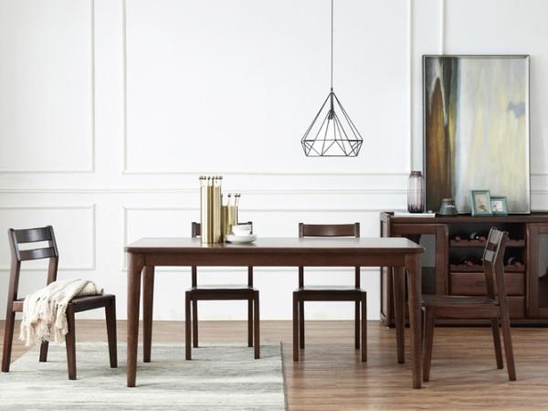 房天下胡桃木实木-北欧现代餐桌