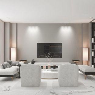 现代简约别墅客厅装修效果图