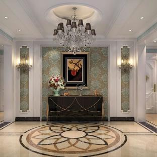 美式古典四居室玄关装修效果图