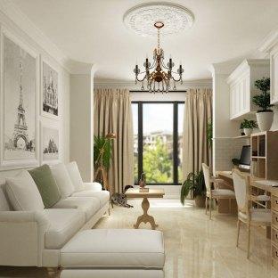 法式风格三居室客厅装修效果图