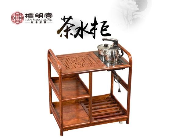 檀明宫刺猬紫檀红木可移动茶水柜中式简约功夫小茶台