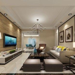 现代混搭风格三居室客厅装修效果图