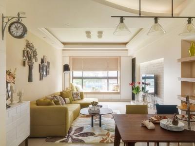 田园风格-102平米三居室整装装修样板间