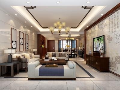 中式风格-176平米五居室整装装修样板间