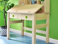 儿童学习桌实木电脑桌书桌可调节简约环保松木原木