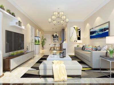 现代简约-105平米三居室装修样板间