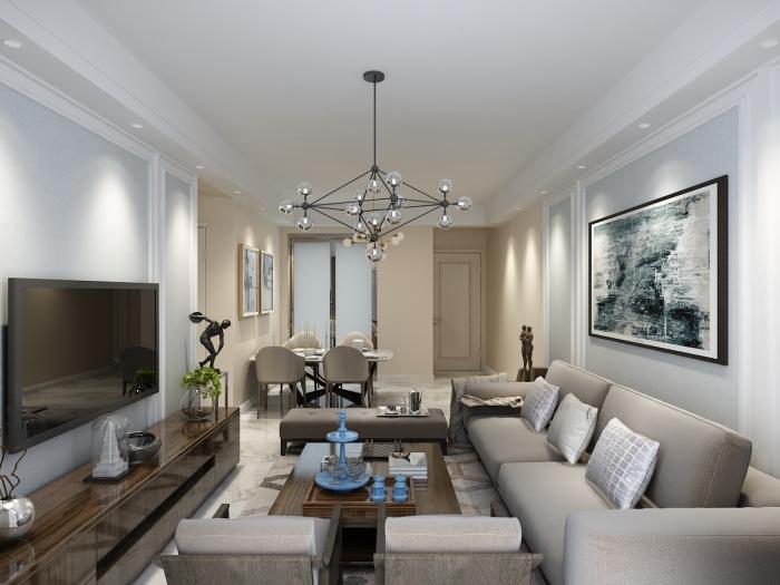现代简约-86平米二居室-装修样板间