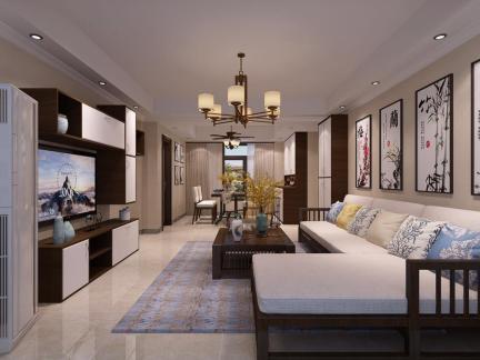 中式风格-123.4平米三居室装修样板间