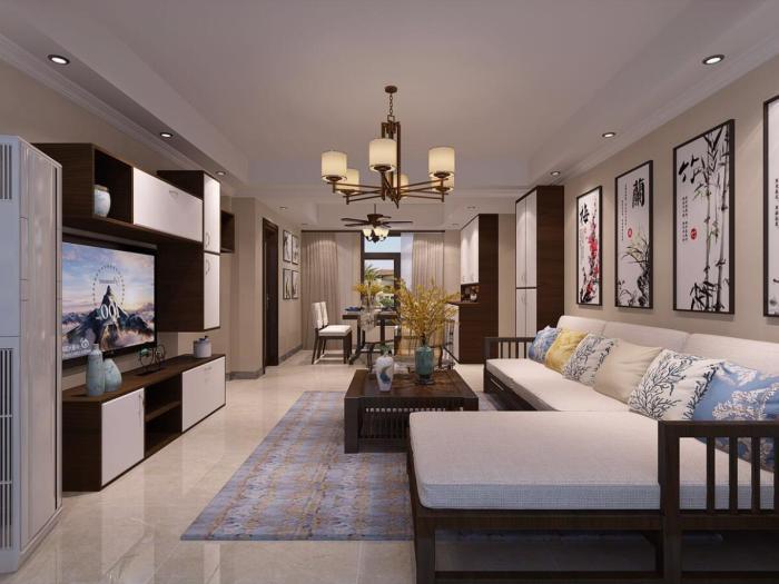 中式风格-123.4平米三居室-装修设计