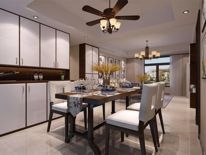 中式风格-123.4平米三居室-装修样板间