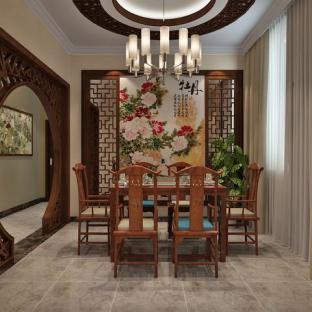 中式风格六居室餐厅装修效果图
