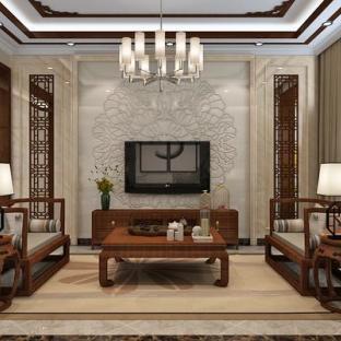 中式风格六居室客厅装修效果图