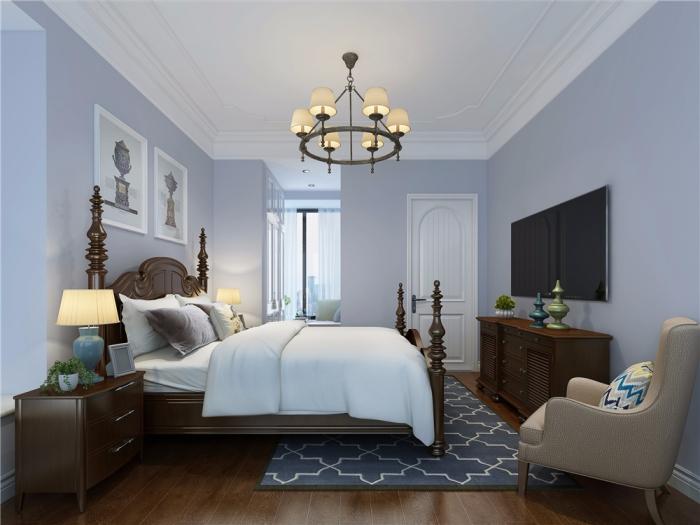美式风格-110平米三居室-装修样板间