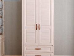 美式儿童衣柜2门卧室田园木质实木收纳储物柜两抽
