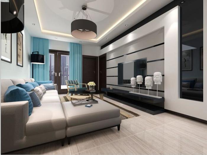 现代简约-120平米三居室整装-装修样板间
