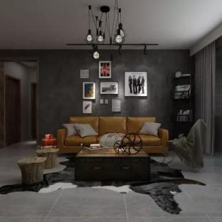 复古工业风格三居室装修效果图