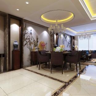新中式风格五居室餐厅装修效果图