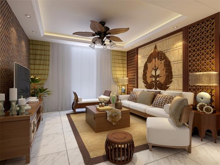东南亚风格-109平米二居室-装修样板间