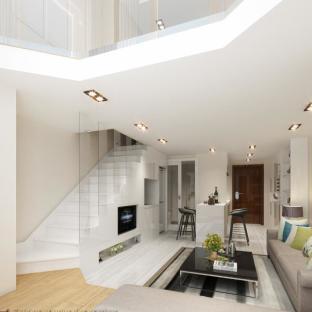 现代简约一居室客厅装修效果图