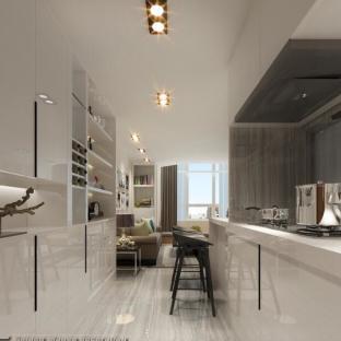 现代简约一居室厨房装修效果图
