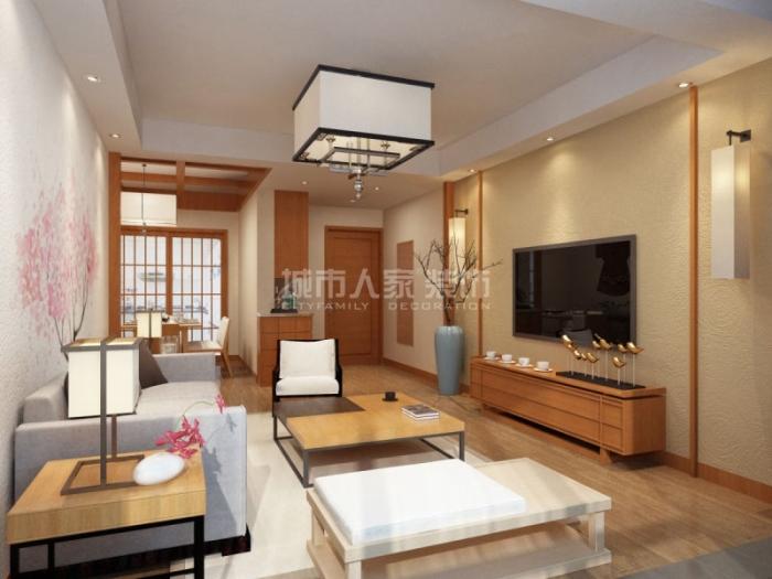 日韩风格-122平米三居室-装修样板间