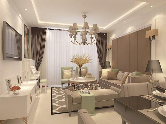 西式古典-88平米二居室-装修样板间