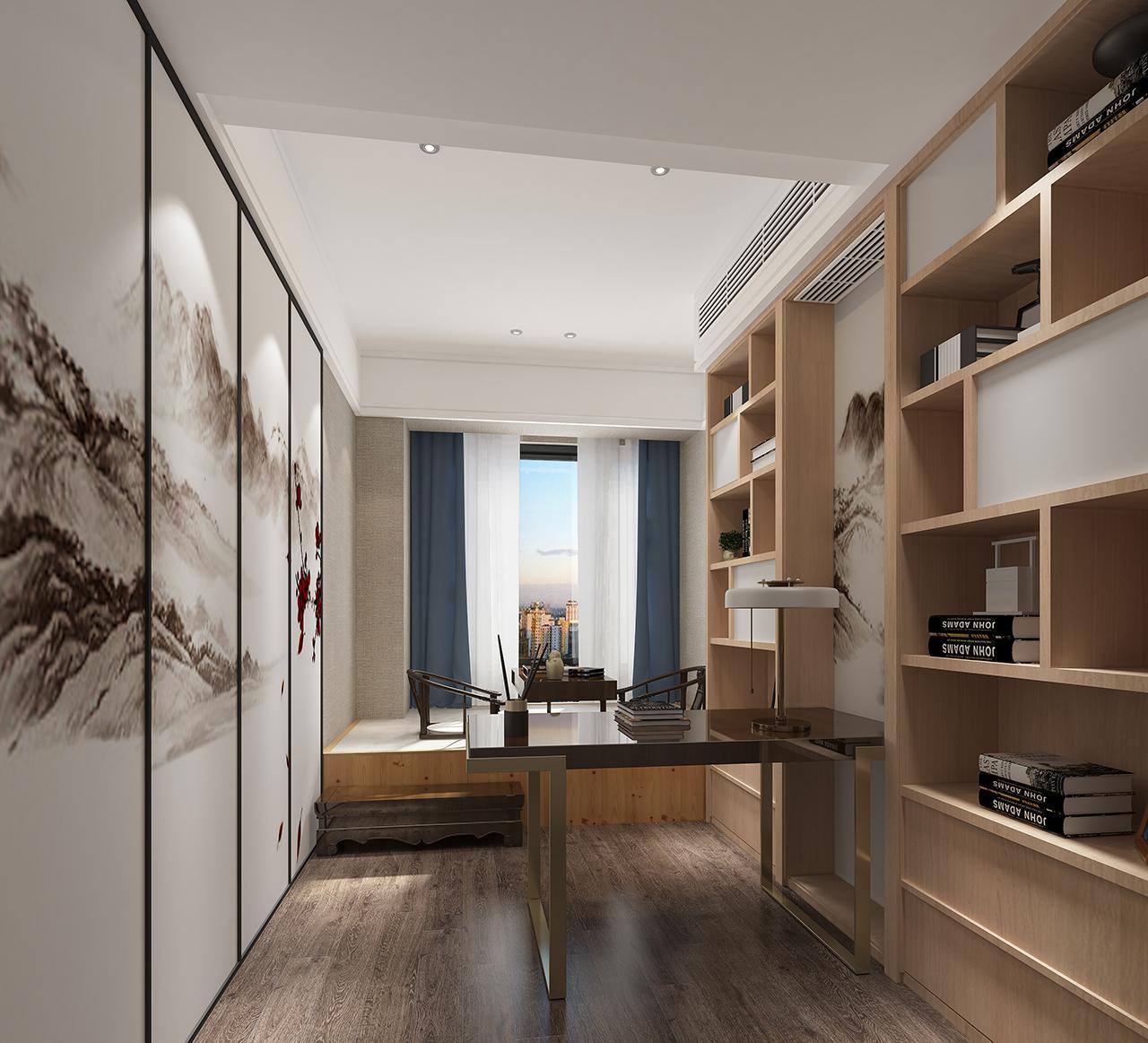 中式风格五居室书房装修效果图