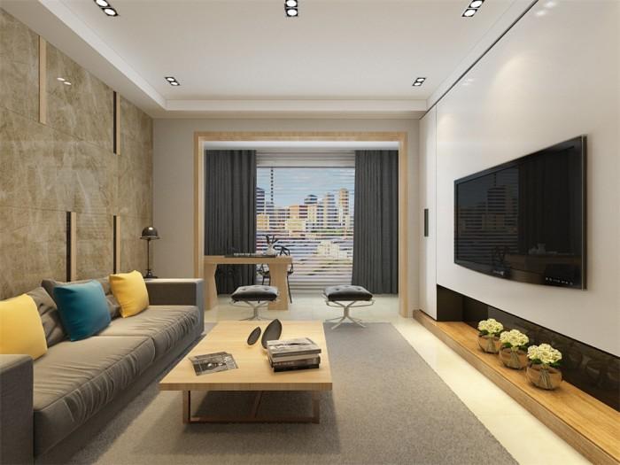 现代简约-136平米三居室-装修样板间