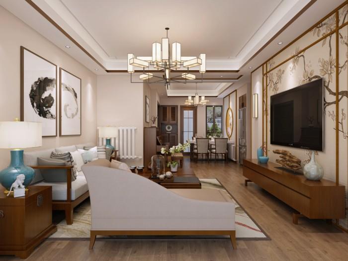 中式风格-106.5平米三居室-装修样板间