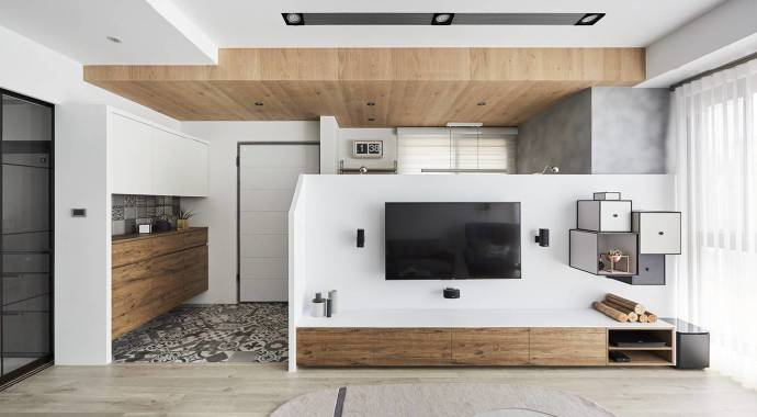 北欧风格-116平米三居室-装修样板间