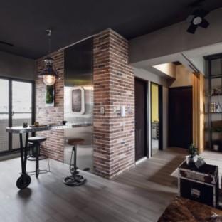工业风格三居室装修效果图