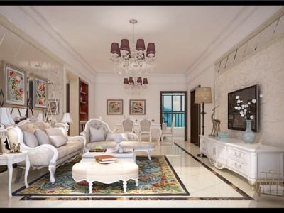 简欧风格-110平米二居室装修样板间