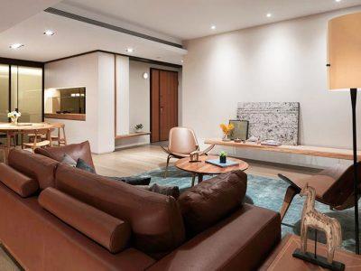 日韩风格-99.61平米三居室装修样板间