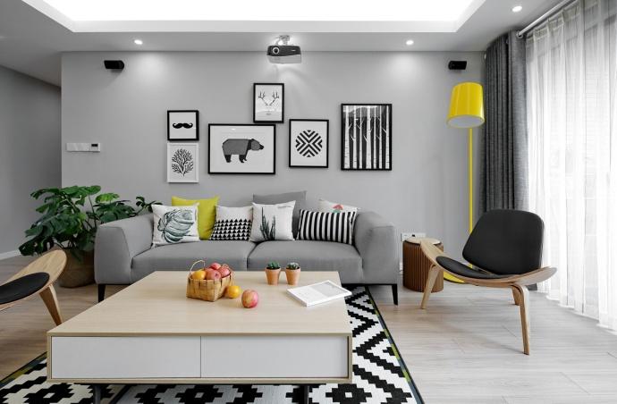 北欧风格-127平米三居室-装修样板间