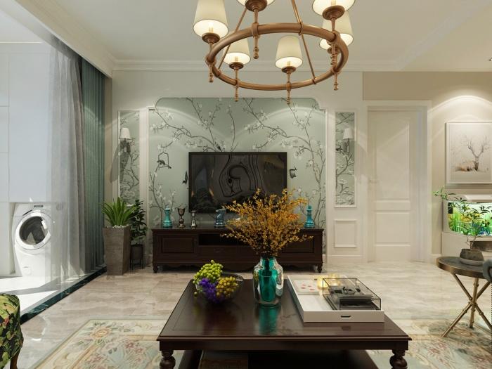 美式风格-105平米三居室-装修样板间