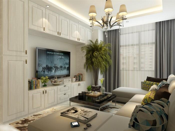 现代简约-91平米二居室-装修样板间