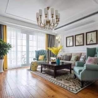 现代美式三居室装修效果图
