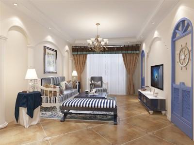 地中海风格-100平米二居室装修样板间