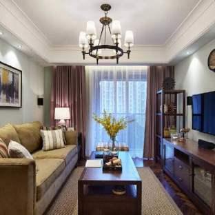 现代美式风格二居室装修效果图