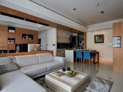 日韩风格-89平米三居室装修样板间